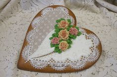 Gingerbread heart cookie intricate piping needlepoint fondant roses Royal icing Keepsake collection