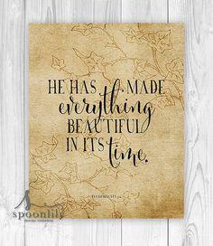 Bible Verse Wall Art Print, Scripture Home Decor, Christian Wall Decor, Inspirational Typography, Ecclesiastes 3:11 - Art Print