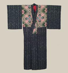 """Dounuki Kimono, Late Meiji to Taisho (1900-1926). A dounuki silk antique kimono.  49"""" from sleeve-end to sleeve-end x 57"""" height. The Kimono Gallery"""