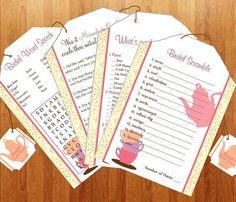 Tea Party Bridal Shower Games - Printable