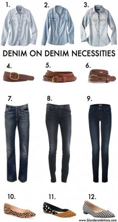 trendy how to wear denim jeans chambray shirts Denim On Denim Looks, Dark Denim Jeans, Denim Fashion, Fashion Outfits, Jean Outfits, Fashion Tips, Light Denim Shirt, Layering Outfits, Classic Looks