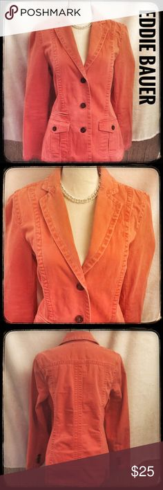 Eddie Bauer Soft Brushed Cotton Orange Blazer Sassy orange blazer by Eddie Bauer. The material is a soft brushed cotton with a smooth feel. The edgy design and distressed appeal of this blazer makes it a true eye catcher. This is a medium Tall so it is longer than most blazers. Beautiful details and meticulous design make this a fashion Must! In great condition and ready to wear. Enjoy my fellow Posh friends! Eddie Bauer Jackets & Coats