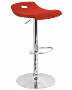 Contemporary Red Surf Curved Wood Barstool