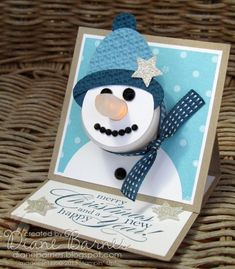 Christmas snowman tealight easel card 1 by stamp-happy21 - Cards and Paper Crafts at Splitcoaststampers