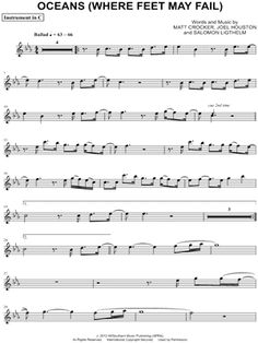 """Hillsong United """"Oceans (Where Feet May Fail) - C Instrument"""" Sheet Music (Flute, Violin, Oboe or Recorder) - Download Print - Get this next - $3.25 - purchased 6/24/2014"""