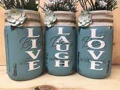 3pc Distressed Live Laugh Love mason jar vase set, Live laugh love mason jar vase, Rustic mason jar set, Dark teal mason jar set by TheSodaCanShop on Etsy