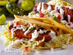 Cacique Grilled Fish Tacos with Tequila-Lime Crema   Mexican Cheese   Cacique Inc.   Authentic Mexican Cheese