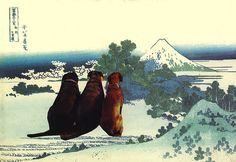 Three Dogs Gazing at Mt. Fuji