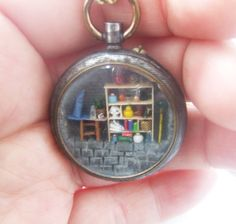 tiny magic shop in a locket  144 scale micro by tinyminds on Etsy, $75.00