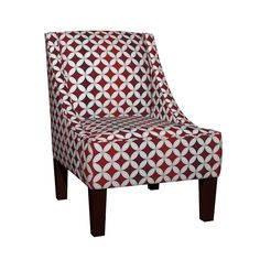 Venda Sloped Arm Chair featuring Cheater Quilt Cathedral Windows Med White Red by wickedrefined, this fabric is available at Spoonflower.com