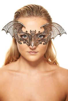 Halloween Silver Vampire Metal Masquerade Mask - Bat Design - Swarovski Rhinestones  By ElegantXBoutique on Etsy