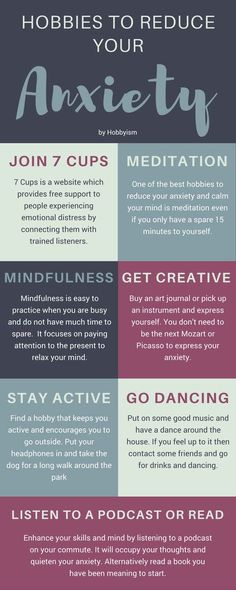 Hobbies to Reduce Your Anxiety. Stress less. Stop stress. How to worry less.How to stop worrying. Don't worry. Stop worrying about others. Deal With Anxiety, Anxiety Tips, Anxiety Help, Stress And Anxiety, Overcoming Anxiety, Health Anxiety, Helping Someone With Anxiety, Things To Help Anxiety, Personal Development