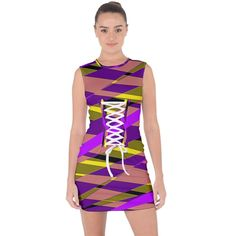 Abstract geometric blocks, yellow, orange, purple triangles, modern design Lace Up Front Bodycon Dress Creative Design, Modern Design, Orange And Purple, Yellow, Up Front, Triangles, Style Fashion, Bodycon Dress, Lace Up