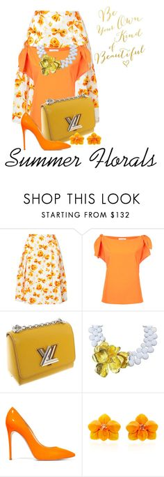 """Summer Florals in Tangerine"" by shamrockclover on Polyvore featuring Carolina Herrera, Le Ciel Bleu, Louis Vuitton, Mimi di N, Casadei and Sabbadini"