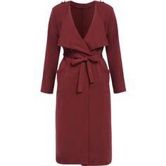 Yoins Red Long Sleeves Lapel Collar Self-Tie-Belt Trench Coat