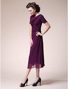 mother of the bride dresses tea length   ... line Cowl Tea-length Chiffon Mother of the Bride Dress - USD $ 69.99