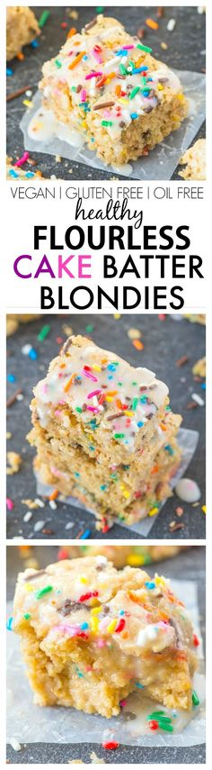 Healthy FLOURLESS Cake Batter Blondies- NO butter, oil or sugar added and SO moist and gooey on the inside while tender on the outside! {vegan, gluten free, sugar free recipe}