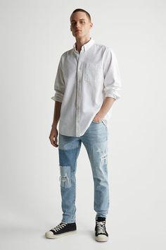 ΤΖΙΝ ΜΕ ΜΠΑΛΩΜΑΤΑ ΜΕ ΧΡΩΜΑΤΙΚΟ ΣΥΝΔΥΑΣΜΟ - Μπλε ανοιχτό | ZARA Greece / Ελλαδα Zara, Skinny Fit Jeans, Contrast, Light Blue, Normcore, Mens Fashion, Tops, Spring, Light Blue Color