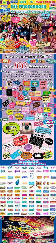 Props Photo Booth Kit Imprimible Fiestas Bodas Cartelitos - $ 49.00