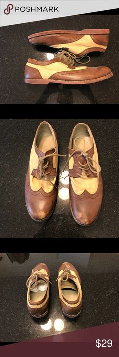 UO Hawkings McGill brown brogue Urban Outfitters two tone brogue brown & khaki color. Worn in vintage look. Tear on left tongue. Husband received tons of compliments on these! hawkings Mcgill Shoes Oxfords & Derbys