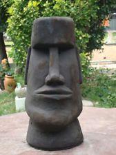 #6 or AMERICAN MODERN MAN RAPA NUI MOAI EASTER ISLAND HEAD CEMENT GARDEN STATUE