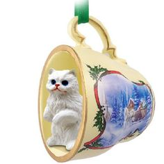 Persian White Cat Tea Cup Sleigh