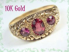 10K Gold Art Nouveau Repousse Rose Cut Garnet by FindMeTreasures