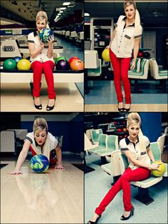 Retro Bowling Style: Red skinnys and a short sleeve button up. #Fashion #Retro