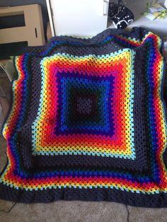 Blanket I crocheted for my baby Axel. #rainbow #crochet #grannysquare #baby
