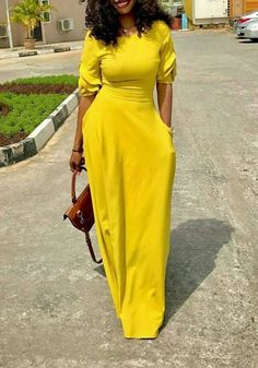 Yellow Pockets Zipper Ruffle Round Neck Fashion Maxi Dress
