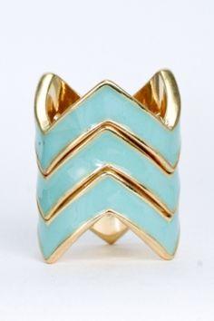 mint chevron ring  #swoonboutique