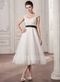 A-Line/Princess Sweetheart Tea-Length Satin Tulle Lace Wedding Dress With Sash Bow(s) (002058808) - JJsHouse