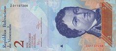 . Billete del Banco Central de Venezuela. 2 Bolívares Fuerte.  Fecha Enero 31 2012. Serie Z8.