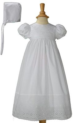 White Poly Cotton Christening Baptism Gown with Lace Border with Bonnet