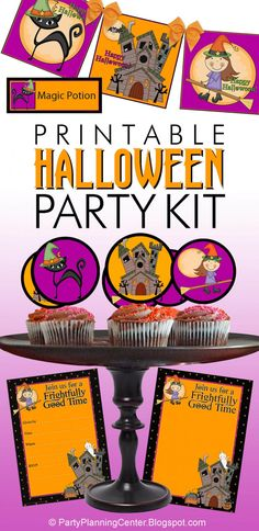 Whimsical Witch Halloween Printable Party Kit | This brightly colored printable Halloween party kit contains matching cupcake toppers, buffet cards, square banners and invitations with fun and not-scary witches, haunted houses and black cats.    #HalloweenParty #HalloweenPartyPrintables #HalloweenPrintables #Halloween #Halloweencupcakes #HalloweenInvitations #CarlaChadwick Halloween Traditions, Halloween Activities, Halloween Crafts, Halloween Party, What Is Halloween, Family Halloween, Halloween Printable, Printable Party, Halloween Movies To Watch