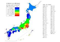 都道府県別の男女比を示した地図。これは面白い pic.twitter.com/LOVgA6wgSG