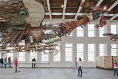 Artist Xu Bing has installed two 12-ton birds made from equipment scavenged from Chinese construction sites at Mass MoCA in Massachusetts.   See more photos and an assembly video on Colossal: http://www.thisiscolossal.com/2013/07/xu-bing-arrives-at-mass-moca-with-his-12-ton-birds-made-of-construction-equipment