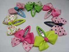Girls snap clip baby bow snap clip barrattes polka dot hair clips toddler hair…                                                                                                                                                                                 More