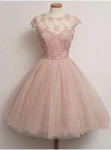 Vintage Scoop Beading Knee-length Pink Prom Dresses A-line Homecoming Dresses CHHD-70903