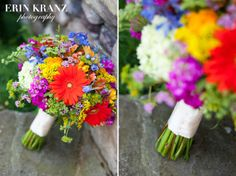 Beautiful bridal wedding bouquet! I love the colorful wildflowers.  | Outdoor wedding details | Charlotte wedding photographer | Erin Kranz Photography