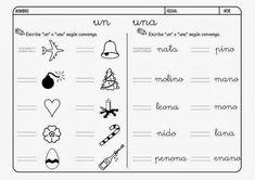 """Maestra de Primaria: Fichas para """"un"""" """"una"""" """"unos"""" """"unas"""""""
