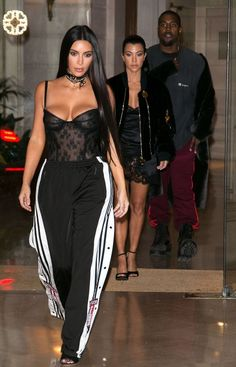 Kim Kardashian's Sexy Paris Fashion Week Outfits - sheer bustier and Adidas pants... - Kim Kardashian Style