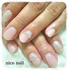浜松市 中区 自宅ネイルサロン nico nail ニコネイル:大人可愛いビジューネイル