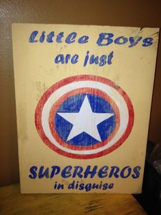 Vintage Captain America Superhero Little Boys Room Sign Primitive. $27.00, via Etsy.