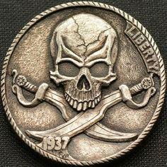 Hobo nickel coin hand engraved by Narimantas Pirate Skull Tattoos, Skull Girl Tattoo, Pirate Art, Pirate Life, Arte Viking, Pirate Coins, Hobo Nickel, Coin Art, Black Sails