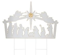 Full Nativity Scene Yard Stake White tin yard stake of Christmas nativity trimmed in gold. Nativity has two angels and star at the top. Made of tin with hand-painted accents. Christmas Nativity Set, Felt Christmas Ornaments, Christmas Decorations, Happy Birthday Yard Signs, Nativity Silhouette, Outdoor Nativity, Paper Artwork, Sunday School Crafts, Old Fashioned Christmas