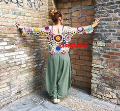 Ravelry: Jersey Garden pattern by Lola & Punto Rainbow Sweater, Silk Shawl, Crochet Clothes, Mantel, Harem Pants, Cool Designs, Crochet Patterns, Ravelry, Sweaters