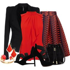 A fashion look from November 2015 featuring ruffle tank, black blazer and mid-calf skirt. Browse and shop related looks.