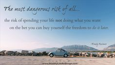 The most dangerous risk of all...spending your life not doing what you want on the bet you can buy yourself the freedom to do it later - Healthy Life Redesign