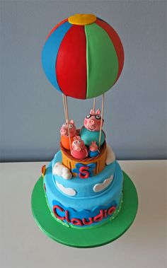 Peppa Pig B-Day Party - Peppa Pig Cake Tarta George Pig, George Pig Cake, Peppa E George, George Pig Party, Bolo Da Peppa Pig, Peppa Pig Birthday Cake, Boys 1st Birthday Cake, 1st Birthday Parties, Aniversario Peppa Pig